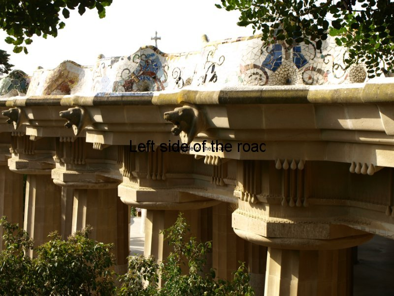 Doric columns supporting main terrace - Parc Guell, Barcelona