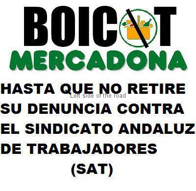 Poster calling for a Boycot of Mercadona.