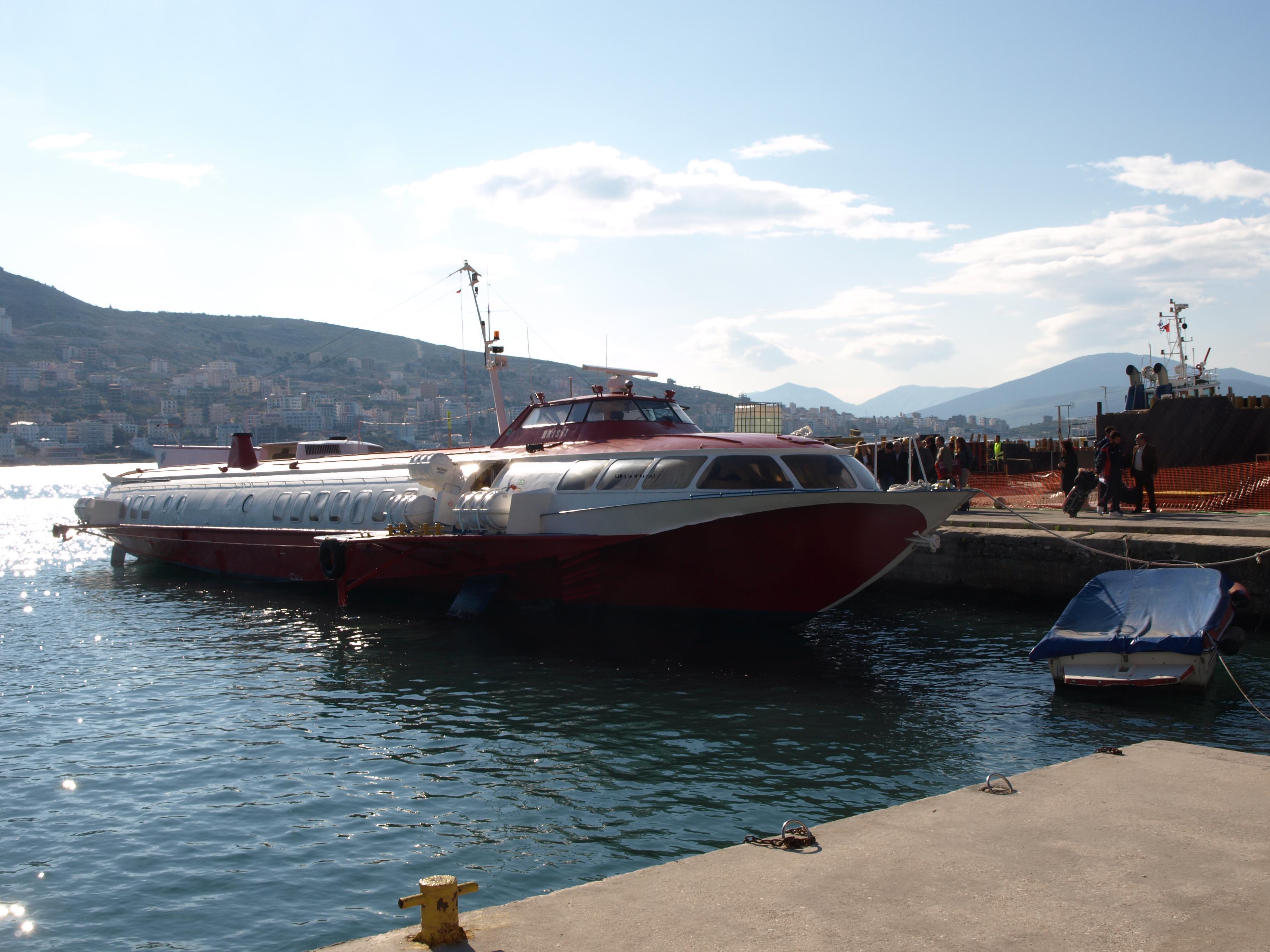 Hydrofoil Kristi docked at Saranda