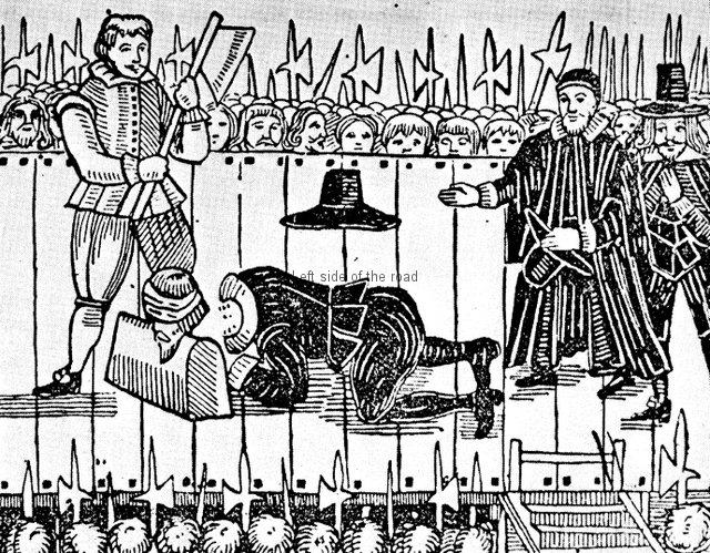 Execution of Charles Stuart - contemporary cartoon