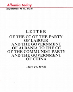 Albania Today No 4 (41) 1978 - Supplement - Letter of CC PLA to CC CPC