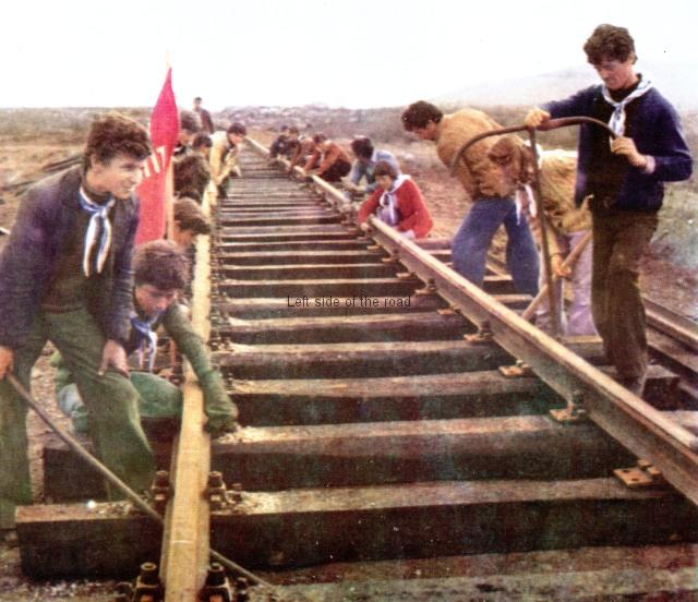 Young people working on the Shkodra-Han i Hotit railway