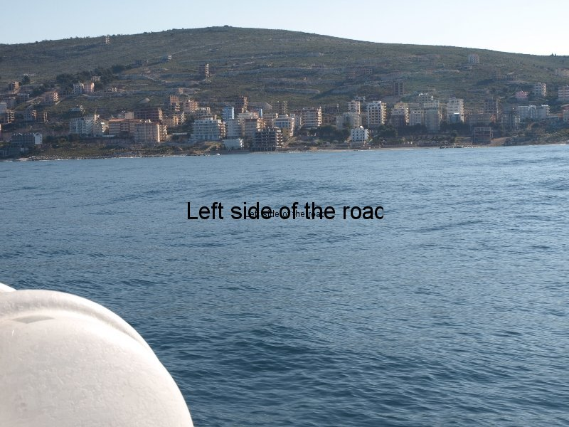 View of Saranda from fast ferry Kristi from Corfu