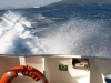 View from stern of fast ferry Kristi on way to Saranda
