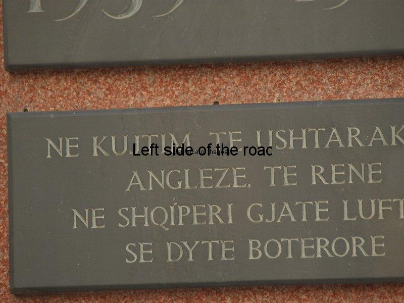 Close-up of Memorial Stone English Cemetery Tirana Albania
