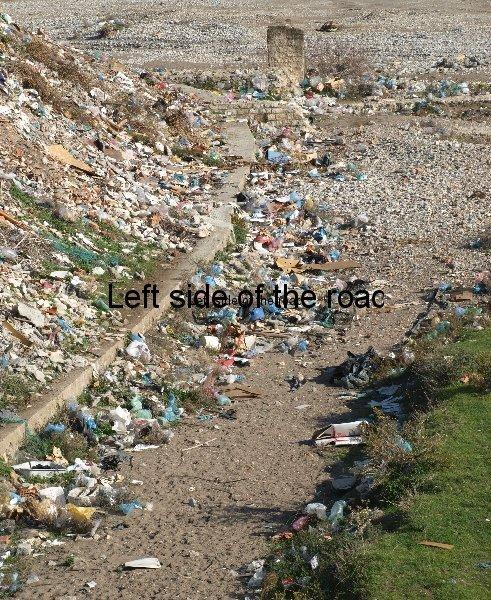 Rubbish strewn River Kir, Shkoder