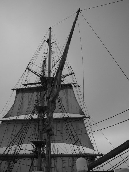 Tall ship on a rainy morning